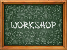 Workshop Concept. Green Chalkboard with Doodle Icons. Stock Image