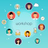 Workshop concept illustration. Team building, workshop, training Royalty Free Stock Photo
