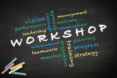 Workshop concept written with chalk on blackboard Stock Photos