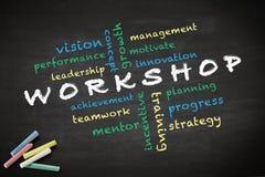 Workshop concept written with chalk on blackboard Stock Photos