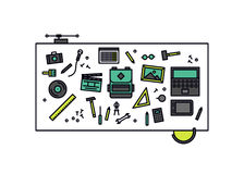 Workshop desk line style illustration Royalty Free Stock Photography