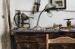 The workshop. Detail of an old dental prosthetic workshop Royalty Free Stock Image