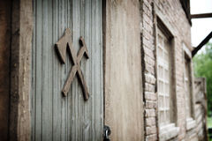 Workshop. The door to the workshop of artisans Royalty Free Stock Image