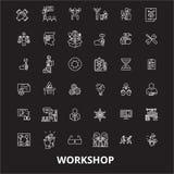 Workshop editable line icons vector set on black background. Workshop white outline illustrations, signs, symbols. Workshop editable line icons vector set on royalty free illustration