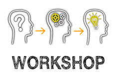 Workshop and Education Concept. On white background with text and team members royalty free illustration