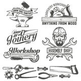 Workshop emblem. Logos with working tools. Emblems carpentry workshop, forge, assembly shop. Worker tools. Text on a separate layer - easy to replace Royalty Free Stock Photography