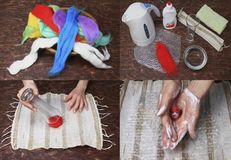 Workshop felting wool for beginners with tools. Workspace with tools needle and skeins of felting wool for jewellery master class top view Royalty Free Stock Images