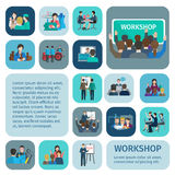 Workshop Flat Icons Set Stock Photography