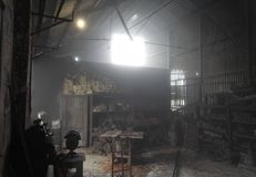 Workshop in the Fog stock images
