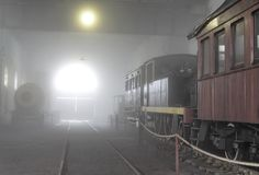 Workshop in the Fog Paranapiacaba. An old steam Locomotive Workshop Stock Photo
