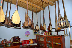 Workshop of folk music instruments Stock Photos