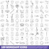 100 workshop icons set, outline style Stock Image