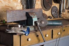 Workshop with locksmith tools royalty free stock photo
