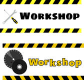 Workshop logo with the image of a screwdriver, wrench and grinding discs. Vector Royalty Free Stock Image
