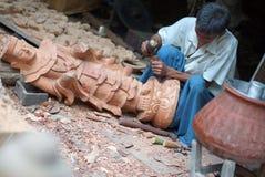 Sculpture workshop in Mandalay in Burma, Asia stock photos