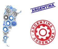 Workshop Mosaic Vector Argentina Map and Grunge Stamps. Repair service vector Argentina map composition and seals. Abstract Argentina map is formed of gradient royalty free illustration