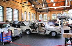 Workshop of the museum of vintage cars Classic Remise Royalty Free Stock Photo
