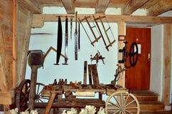 Workshop. Old carpenter's workshop with tools Royalty Free Stock Image