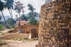 Workshop for production of Adobe bricks. Construction operations, contractor's business - workshop for production of Adobe bricks. building products, building royalty free stock image