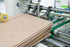 Workshop for the production of cardboard packaging stock photo