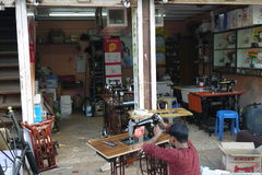 Workshop on repair and tailoring Stock Image