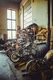 Workshop for repairing motorcycles. production of custom motorcycles.  Royalty Free Stock Photos