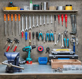 Workshop. Scene. Tools on the table and board Royalty Free Stock Images