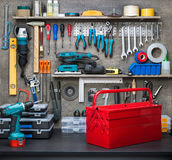 Workshop. Scene. Tools on the table and board Royalty Free Stock Photo