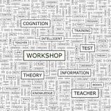 WORKSHOP. Seamless pattern. Word cloud illustration stock illustration