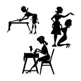 Workshop set of silhouettes of icons of women tailors for sewing. Sewing icons for studio workshops Royalty Free Stock Photography