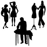 Workshop set of silhouettes of icons of women tailors for sewing Stock Photography