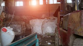 Workshop for sorting and recycling, sunset, factory, conversion. Biomass royalty free stock photos
