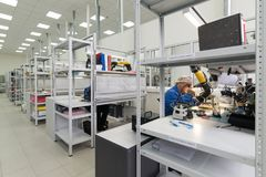 Workshop surface mounting and pre-assembly. Electronic industry. Zelenograd, Russia - October 19, 2017: Factory for the manufacture of electronic printed Stock Image