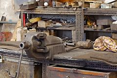 Workshop table with vise Stock Photo