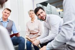 Workshop for team building in office. Business people together in workshop for team building in office Royalty Free Stock Images