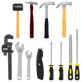 Workshop Tools. A realistic vector illustration of a collection of 12 various tools including Hammers, Adjustable Wrenches, a Box Knife, 2 Screwdrivers and 2 Royalty Free Stock Images