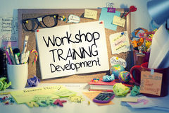 Workshop. Training development words on bulletin board Royalty Free Stock Photos