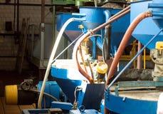 Workshop voor de productie en de verwerking van koolzaad, biofuel productie, productie van raapzaadolie, het werken, brandstof stock fotografie