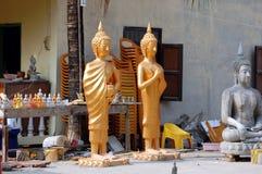 Workshop voor de productie van Buddhas Stock Afbeelding