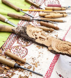 Workshop for wood carvings Royalty Free Stock Photo