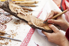 Workshop for wood carvings Stock Photography