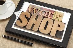 Workshop word on digital tablet royalty free stock images