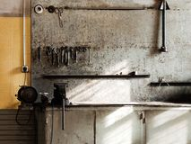 Workshop workbench. Hand work repair equipment tool workshop workbench Stock Photos