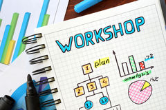 Workshop written in a notebook. royalty free stock image