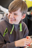 Workshops. Boy build a kite. Workshops Royalty Free Stock Photo