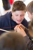 Workshops. Boys build a kite. Workshops Stock Photography