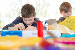 Workshops. Boys build a kite. Workshops Stock Photo