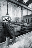Workshops of an old factory. Which is now closed and abandoned Royalty Free Stock Image