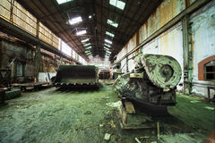 Workshops of an old factory. Which is now closed and abandoned Royalty Free Stock Photos