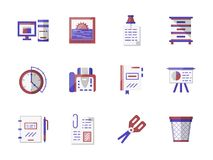 Workspace accessories flat color icons set. Workspace accessories and office equipment. Paper, file folder, scissors organizer and other objects related to Royalty Free Stock Photos